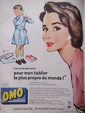 PUBLICITÉ 1958 LESSIVE OMO J'AI EU UN BON POINT POUR MON TABLIER - ADVERTISING