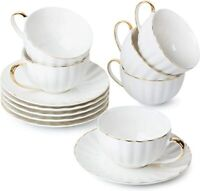 Tea Cups and Saucers, Set of 6 (7 oz) with Gold Trim and Gift Box, White Cup
