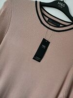 LADIES M&S SIZES 20 22 OR 24 DUSTY PINK SOFT RIBBED STRETCH JUMPER FREE POST
