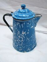 Antique Blue Swirl Agate Enamelware Coffee Pot Granite Ware Enamel Pitcher