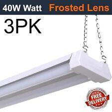 (3Pk) Led 4Ft Utility Shop Light 40W, 4000K Frosted Lens, Garage, Plug In