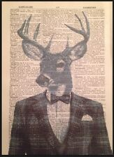 Vintage Stag Head Deer Print 1933 Dictionary Page Wall Art Picture Grey Tartan