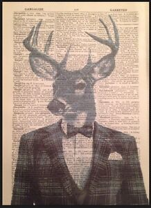 Vintage Stag Head Deer Print Dictionary Page Wall Art Picture Animal Grey Tartan