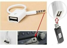 3.5mm Male AUX Audio Plug Jack to USB 2.0 Female Adapter Converter Cable White
