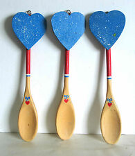 "3 Wooden Kitchen Spoons Hand Painted Hearts and hooks for hanging 10"" FREE SH"