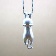 Cat Necklace .925 Silver Hang In There 3D Pendant Charm Kitten Hanging New