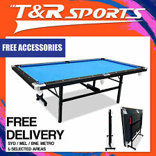 T&R Sports MDF08FOLDBLU-AK 8Ft Foldable/Fold-Away Pool Billiard Table - Blue
