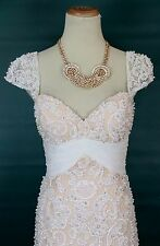 NEW $850 Mermaid White Nude Jovani Long Gown Prom Formal Lace Size 2 Wedding
