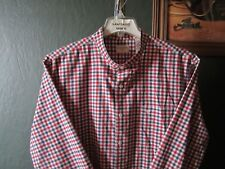 XL 17.5-34/35 WRINKLE FREE DOCKERS PLAID BANDED COLLARLESS WESTERN SHIRT