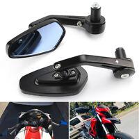 "Motorcycle 7/8"" 22mm Handle Bar End Rearview Side Mirror For Honda Yamaha Suzuki"