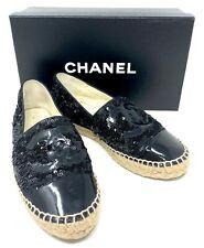 Authentic CHANEL CC Coco mark Espadrilles Flat Shoes Black Size 37 US5.5 Rank AB
