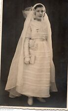 BL638 Carte Photo vintage card RPPC Enfant communiante robe voile religion 1935