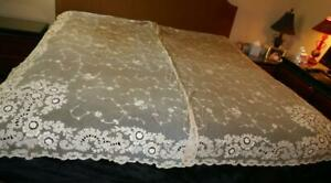 """PAIR ANTIQUE TAMBOUR LACE NET SWISS CHAIN STITCHED CURTAIN DRAPERY PANELS 86"""" #1"""
