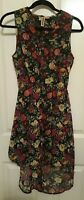 Women's Ladies Polyester Sleeveless High Low Floral Lined Dress Sz Med