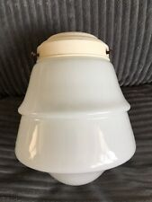 Vintage Art Deco Pearl White Light Shade Glass Made In Enand