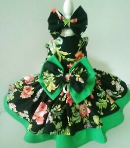 DOG DRESS/HARNESS   black & green floral   NEW FREE SHIPPING