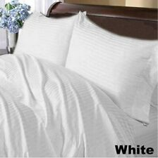 Luxury Linen Collection 1000 TC Egyptian Cotton White Striped Select Item & Size