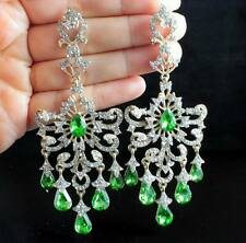 HUGE VICTORIAN AUSTRIAN RHINESTONE DROP CHANDELIER DANGLE EARRINGS E2097G GREEN