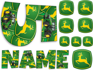 JOHN DEERE TRACTOR INSPIRED NAME / NUMBER PERSONALISED CAKE EDIBLE ICING TOPPER