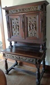 Jacobean Revival Breakfront Cabinet – Hand Crafted Copper Panels – Lion Head