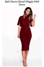 boohoo split sleeve midi dress uk 8 women's berry wiggle bodycon