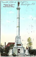 Postcard IL Chicago Douglas Square Monument And Tomb Of Stephen Douglas E19