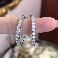 0.95Ct Round Cut VVS1/D Diamond Hoop Earrings Solid 14K Real White Gold Finish