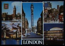 London Big Ben Houses of Parliament Post Office Tower c1977 Postcard (P247)