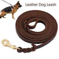 1.6m 2.4m brun tressé en cuir véritable laisse de chien de formation de marche