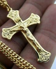 Gold Sterling Silver Pecoral Cross Crucifix Pendant