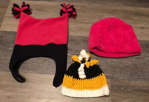 Lot Of 3 Girls Hats- Pink Fleece, Pink And Blue Fleece