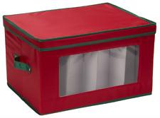 Household Essentials Holiday Goblet Stemware Storage Chest 540Red