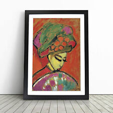 More details for young girl with a flowered hat by alexej von jawlensky wall art framed print