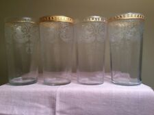 Antique Set of 4 ART DECO Etched  Crystal Gilded CAMBRIDGE GlassTumbler 1920's