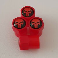 The Punisher ABS Red Plastic Valve Dust caps all models more colour All cars