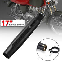 Universal Motorcycle 17'' Tapered Exhaust Pipe Silencer Slip-On For Cafe Racer