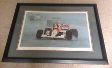 Framed F1 Print Ayrton Senna  In The Rain By Ray Goldsborough ( Framed )