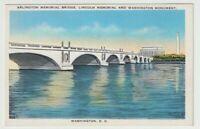 Unused Postcard Arlington Memorial Bridge Lincoln Memorial Washington DC