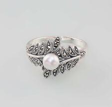9927669 925er Silber Perlen-Markasit-Ring Gr.56 Art deco Vintage