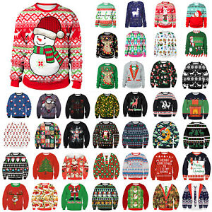 Christmas Women Men Ugly Sweater Knitted Sweatshirt Pullover Xmas Party Festival