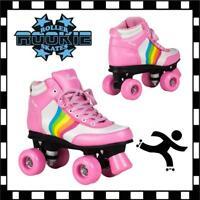 New Rookie Forev Rainbow V2 Girls Pink Quad Wheels Roller Skates rrp £70 on Sale