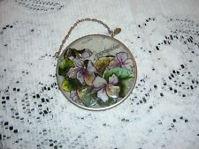 Amia Glass Sun Catcher Small 3 1/2 Round grandmother and flowers New