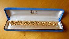 Vintage Trifari Modernist Brutalist Goldtone & Rhinestone Link Bracelet in Box