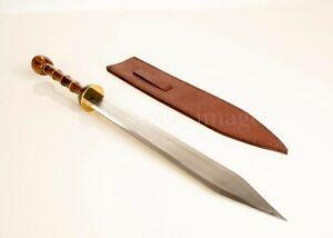 "Full Size 33"" Roman/Centurion Gladius Sword, Leather Sheath SOLID Sharpened"