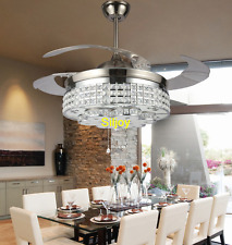 Invisible Remote Control Lights Retractable LED Crystal Chandelier Fan Lamp