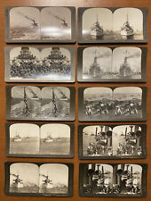 Set 10 Antique Stereoview Cards Us Navy Great White Fleet & 1898 Naval Parade