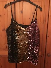 M&S Sequinned Multi & Black Cami Top size 20 BNWT