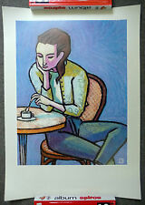 affiche ofset  grutting femme au café papiers gras edition geneve signé