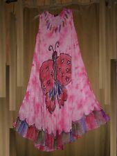 Plus Size Cover Up Dress Lounger Butterfly  Embroidery Painted Pink NWT L, XL,1X