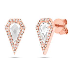 1.32 tcw 14K Rose Gold Diamonds and White Topaz in Diamond Shape Stud Earring
